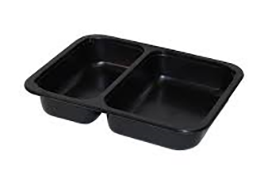 2 compartment CPET tray for gluten free food